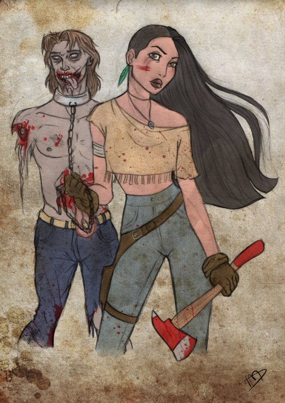 "Pocahontas and (zombie) John Smith from ""Pocahontas"" - you can paint with all the colors of your death!"
